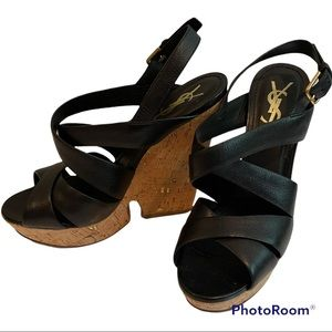 👠Extra 15 % Off 👠💲SALE💲YSL Black Wedge Size 39 but run small fit 38